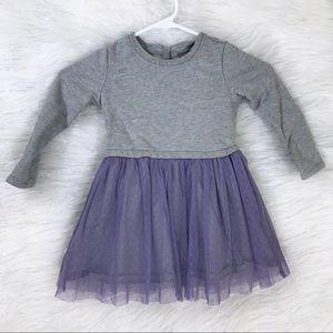 Tea Collection Gray Dress Purple Tulle 3T